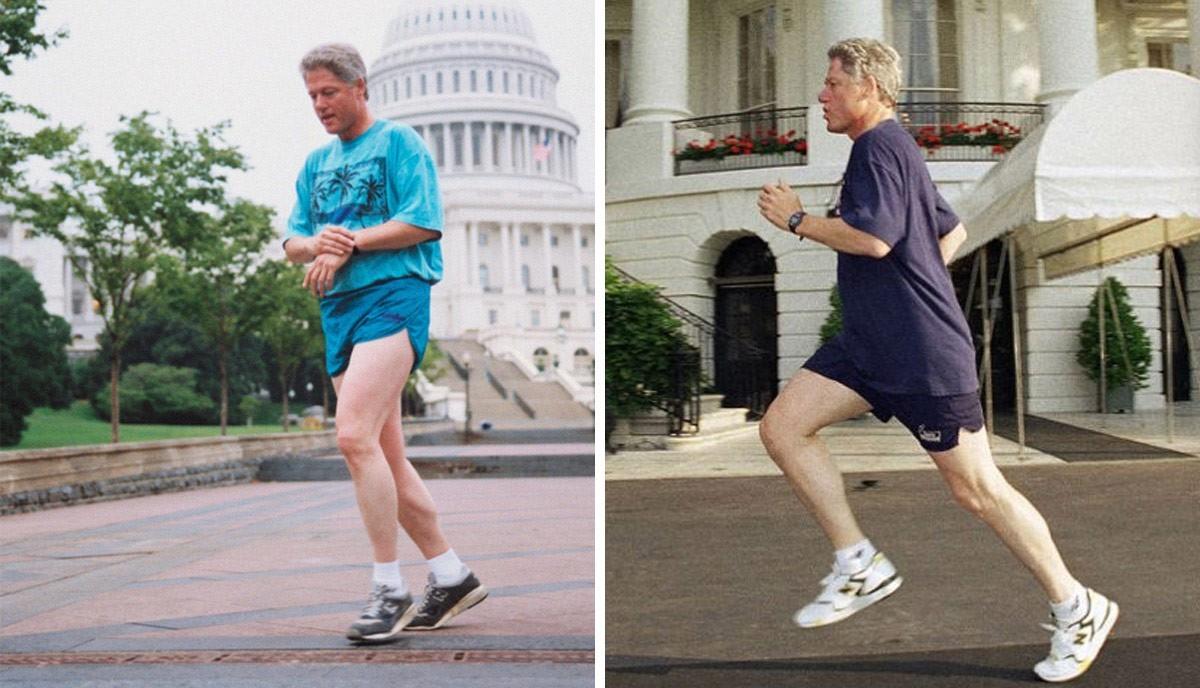 Bill Clinton avec la New Balance 997 aux pieds.